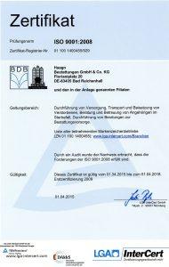 Iso-Zertifikat Bestattung Haagn